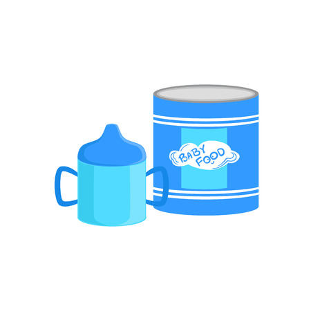 complementary: Industrical Can With Powder Milk And Sippy Cup Supplemental Baby Food Products Allowed For First Complementary Feeding Of Small Child Cartoon Illustration. Colorful Flat Vector Drawing With Meal Allowed For Toddler Proper Diet.