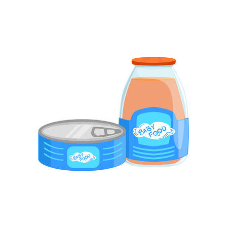 complementary: Industrial Products, Tin Can With Meat And Glass Bottle With Juice Supplemental Baby Food Products Allowed For First Complementary Feeding Of Small Child Cartoon Illustration. Colorful Flat Vector Drawing With Meal Allowed For Toddler Proper Diet.