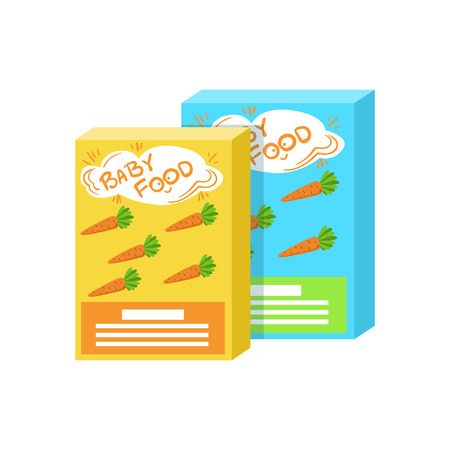 complementary: Carton Boxes With Fresh Carrot Juice Supplemental Baby Food Products Allowed For First Complementary Feeding Of Small Child Cartoon Illustration. Colorful Flat Vector Drawing With Meal Allowed For Toddler Proper Diet.