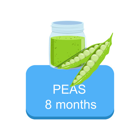 Recommended Time To Feed The Baby With Fresh Peas Cartoon Info Sticker With Fresh Vegetable And Puree In Jar. Flat Vector Illustration With Healthy Food Choice For Small Child According To Age.