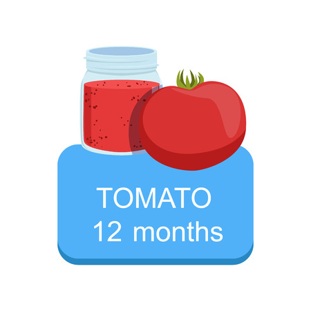 Recommended Time To Feed The Baby With Fresh Tomato Cartoon Info Sticker With Fresh Vegetable And Puree In Jar. Flat Vector Illustration With Healthy Food Choice For Small Child According To Age.