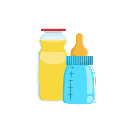 complementary: Orange Juice And Baby Bottle Supplemental Baby Food Products Allowed For First Complementary Feeding Of Small Child Cartoon Illustration. Colorful Flat Vector Drawing With Meal Allowed For Toddler Proper Diet.