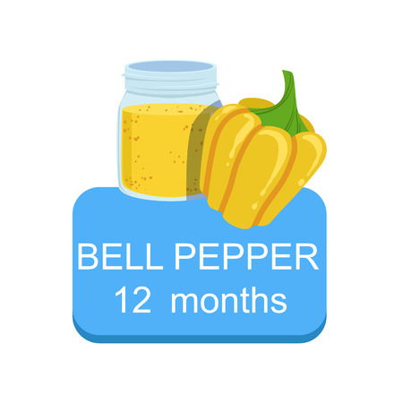 Recommended Time To Feed The Baby With Fresh Bell Pepper Cartoon Info Sticker With Fresh Vegetable And Puree In Jar. Flat Vector Illustration With Healthy Food Choice For Small Child According To Age. Illustration