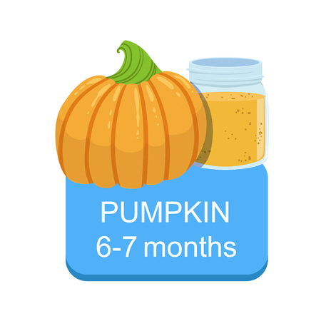 Recommended Time To Feed The Baby With Fresh Pumpkin Cartoon Info Sticker With Fresh Vegetable And Puree In Jar. Flat Vector Illustration With Healthy Food Choice For Small Child According To Age. 矢量图像