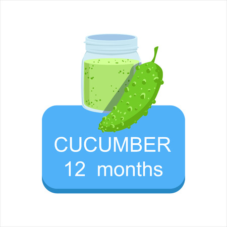 Recommended Time To Feed The Baby With Fresh Cucumber Cartoon Info Sticker With Fresh Vegetable And Puree In Jar. Flat Vector Illustration With Healthy Food Choice For Small Child According To Age. 矢量图像