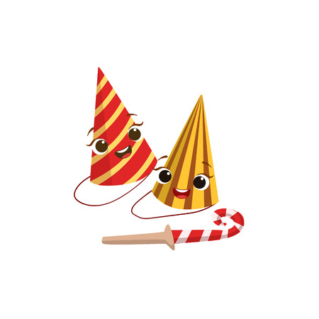 paper hats: Two Paper Party Hats And Horn Kids Birthday Party Happy Smiling Animated Object Cartoon Girly Character Festive Illustration. Part Of Vector Collection Of Fantasy Creatures On Children Celebration Flat Drawings.