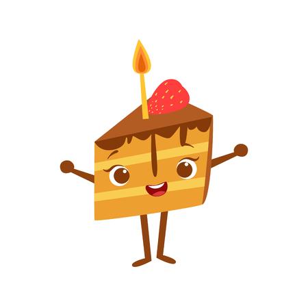 trozo de pastel: Pedazo de torta con la vela del cumpleaños de los niños del partido del feliz sonriente de la historieta objeto animado del personaje femenino Ilustración festiva. Parte de la colección del vector de las criaturas de la fantasía en los niños celebración planas dibujos.