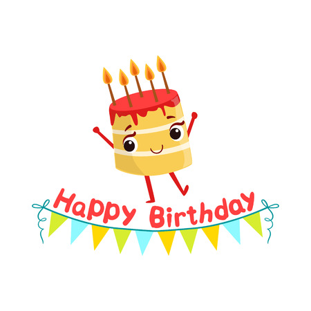 burning paper: Birthday Cake And Paper Garland Kids Birthday Party Happy Smiling Animated Object Cartoon Girly Character Festive Illustration. Part Of Vector Collection Of Fantasy Creatures On Children Celebration Flat Drawings. Illustration