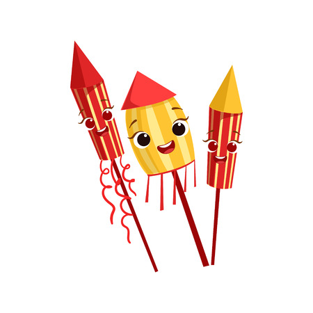 serpentines: Fireworks Kids Birthday Party Happy Smiling Animated Object Cartoon Girly Character Festive Illustration. Part Of Vector Collection Of Fantasy Creatures On Children Celebration Flat Drawings. Illustration