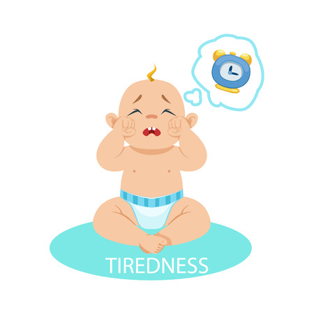 tiredness: Little Baby Boy In Nappy Tired And Wants To Sleep, Part Of Reasons Of Infant Being Unhappy And Crying Cartoon Illustration Collection. Infancy And Parenthood Info Vector Drawings With Explanations Why Toddler Is Upset. Illustration