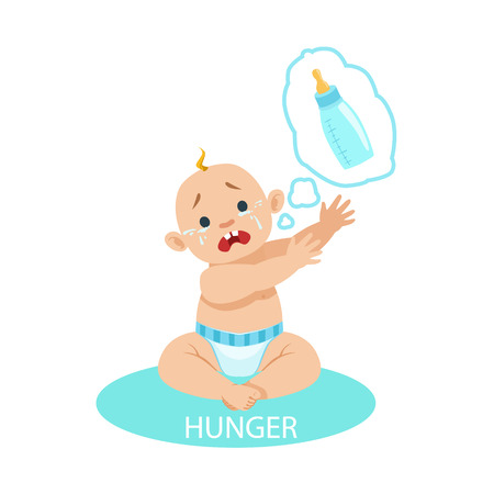 Little Baby Boy In Nappy Is HungryAnd Needs A Bottle,Part Of Reasons Of Infant Being Unhappy And Crying Cartoon Illustration Collection. Infancy And Parenthood Info Vector Drawings With Explanations Why Toddler Is Upset.