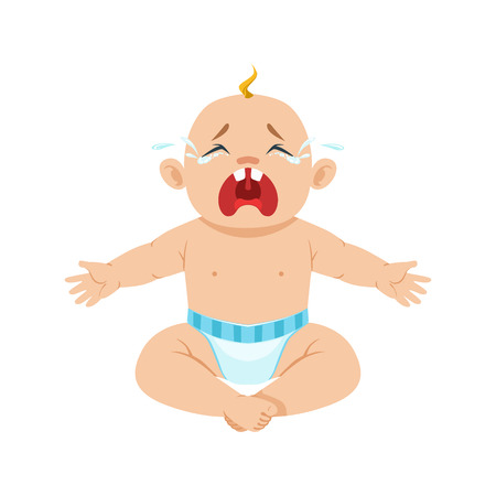 Little Baby Boy Sitting In Nappy Crying Hesterically With Eyes Full Of Tears, Part Of Reasons Of Infant Being Unhappy Cartoon Illustration Collection. Infancy And Parenthood Info Vector Drawings With Explanations Why Toddler Is Upset. Illustration