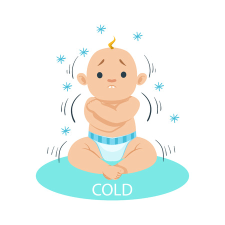 shiver: Little Baby Boy In Nappy Shivering Of Cold, Part Of Reasons Of Infant Being Unhappy And Crying Cartoon Illustration Collection. Infancy And Parenthood Info Vector Drawings With Explanations Why Toddler Is Upset.