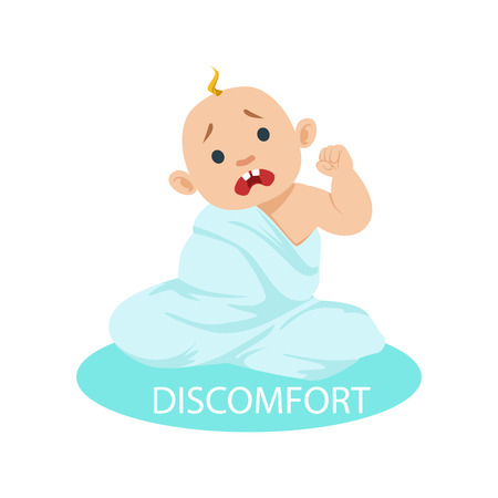 Little Baby Boy In Nappy Tangled In Blanket Feeling Discomfort, Part Of Reasons Of Infant Being Unhappy And Crying Cartoon Illustration Collection. Infancy And Parenthood Info Vector Drawings With Explanations Why Toddler Is Upset.