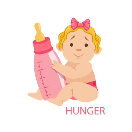 nappy: Little Baby Girl In Nappy Holding A Bottle Being Hungry, Part Of Reasons Of Infant Being Unhappy And Crying Cartoon Illustration Collection. Infancy And Parenthood Info Vector Drawings With Explanations Why Toddler Is Upset.