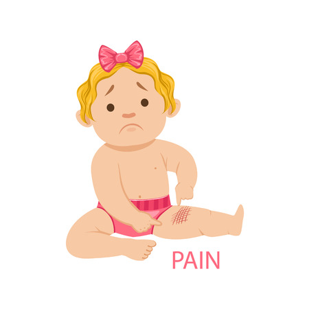 Little Baby Girl In Nappy Having Pain From A Scratch, Part Of Reasons Of Infant Being Unhappy And Crying Cartoon Illustration Collection. Infancy And Parenthood Info Vector Drawings With Explanations Why Toddler Is Upset.