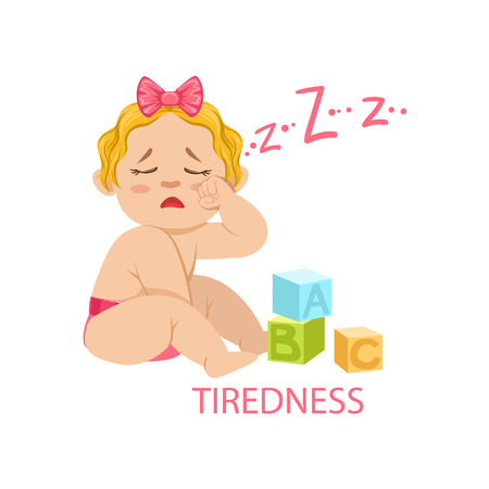 needs: Little Baby Girl In Nappy Is Tired And Needs Sleep, Part Of Reasons Of Infant Being Unhappy And Crying Cartoon Illustration Collection. Infancy And Parenthood Info Vector Drawings With Explanations Why Toddler Is Upset.