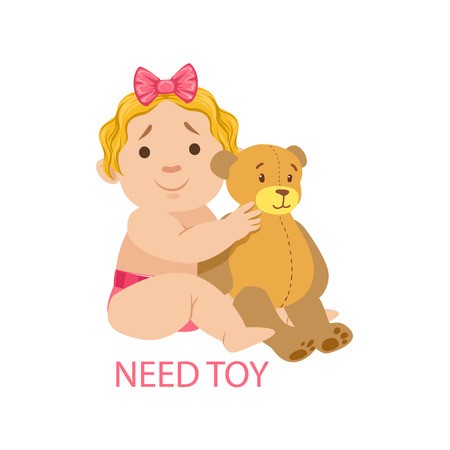 nappy: Little Baby Girl In Nappy With Teddy Bear Needing A Toy,Part Of Reasons Of Infant Being Unhappy And Crying Cartoon Illustration Collection. Infancy And Parenthood Info Vector Drawings With Explanations Why Toddler Is Upset.