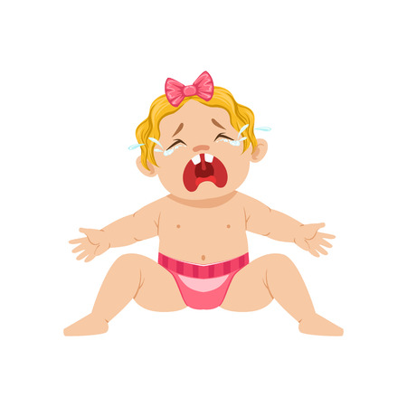 nappy: Little Baby Girl Sitting In Nappy Crying Hesterically With Eyes Full Of Tears, Part Of Reasons Of Infant Being Unhappy Cartoon Illustration Collection. Infancy And Parenthood Info Vector Drawings With Explanations Why Toddler Is Upset.