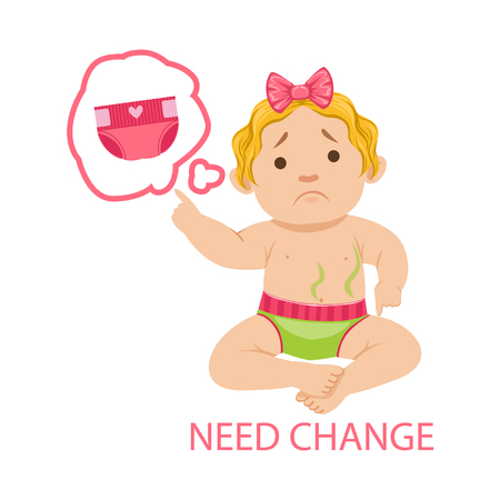 Little Baby Girl In Dirty Nappy Needs Change, Part Of Reasons Of Infant Being Unhappy And Crying Cartoon Illustration Collection. Infancy And Parenthood Info Vector Drawings With Explanations Why Toddler Is Upset. Illustration