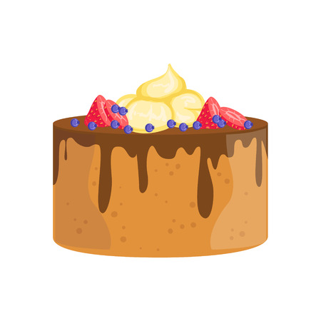 wedding reception decoration: Sponge Cake With Chocolate And Berries Decorated Big Special Occasion Party Dessert For Wedding Or Birthday Celebration. Festive Sweet Pastry Centerpiece Element Design Flat Vector Illustration.