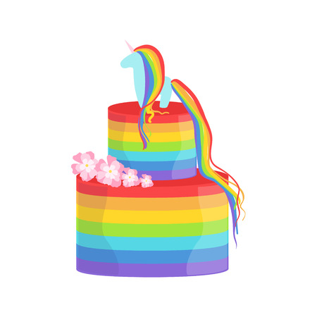 gay wedding: Rainbow And Unicorn Gay Pride Color Cake Decorated Big Special Occasion Party Dessert For Wedding Or Birthday Celebration. Festive Sweet Pastry Centerpiece Element Design Flat Vector Illustration. Illustration