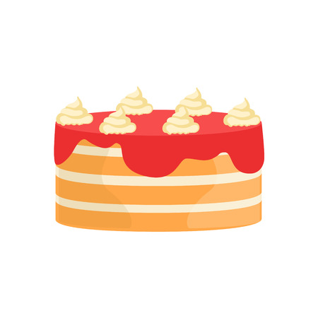 wedding reception decoration: Layered Cake With Strawberry Syrup Decorated Big Special Occasion Party Dessert For Wedding Or Birthday Celebration. Festive Sweet Pastry Centerpiece Element Design Flat Vector Illustration.