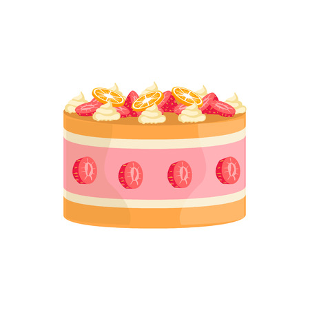 wedding reception decoration: Jelly Cake With Strawberries And Orange Decorated Big Special Occasion Party Dessert For Wedding Or Birthday Celebration. Festive Sweet Pastry Centerpiece Element Design Flat Vector Illustration.