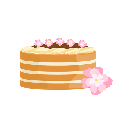 wedding reception decoration: Classy Cake With Chocolate And Flowers Decorated Big Special Occasion Party Dessert For Wedding Or Birthday Celebration. Festive Sweet Pastry Centerpiece Element Design Flat Vector Illustration.