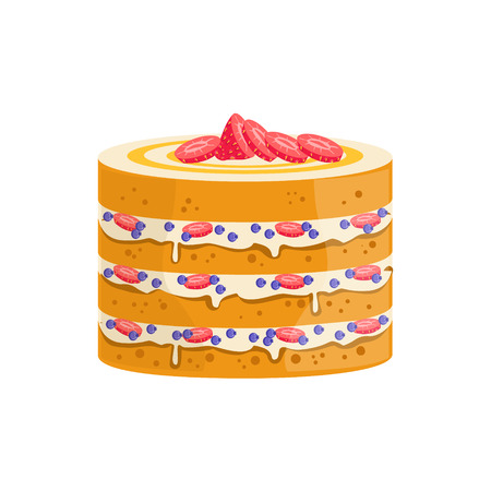 sponge cake: Sponge Cake With Berries And Cream Decorated Big Special Occasion Party Dessert For Wedding Or Birthday Celebration. Festive Sweet Pastry Centerpiece Element Design Flat Vector Illustration.