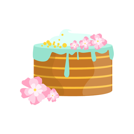 Layered Cake With Blue Icing Decorated Big Special Occasion Party Dessert For Wedding Or Birthday Celebration. Festive Sweet Pastry Centerpiece Element Design Flat Vector Illustration.