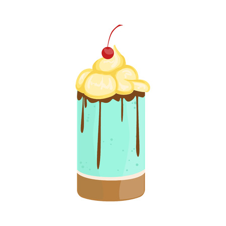 Personal Cake With Whipped Cream And Cherry Decorated Big Special Occasion Party Dessert For Wedding Or Birthday Celebration. Festive Sweet Pastry Centerpiece Element Design Flat Vector Illustration.