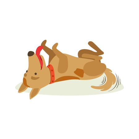 Happy Brown Pet Dog Rolling On The Back , Animal Emotion Cartoon Illustration. Cute Realistic Active Hound Vector Character Everyday Life Scene Emoji. Illustration