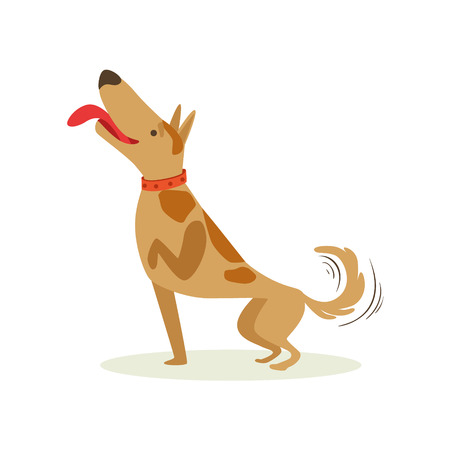 Well Trained Brown Pet Dog Striking A Pose, Animal Emotion Cartoon Illustration. Cute Realistic Active Hound Vector Character Everyday Life Scene Emoji. Illustration