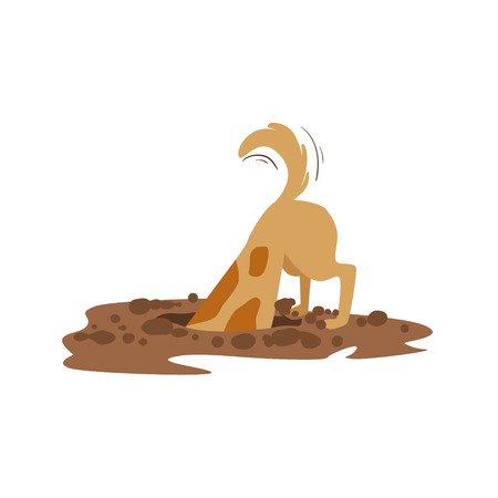 Brown Pet Dog Digging The Dirt In The Garden, Animal Emotion Cartoon Illustration. Cute Realistic Active Hound Vector Character Everyday Life Scene Emoji. Illustration