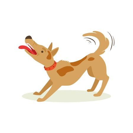 Bristling Up Angry Brown Pet Dog , Animal Emotion Cartoon Illustration. Cute Realistic Active Hound Vector Character Everyday Life Scene Emoji.