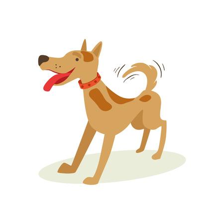 흥분 갈색 애완 동물 강아지 놀고, 동물 감정 만화 일러스트 레이 션. 귀여운 현실적인 활성 하 운 드 벡터 캐릭터 일상 생활 이모티콘입니다.