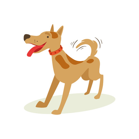 Excited Brown Pet Dog Wants To Play, Animal Emotion Cartoon Illustration. Cute Realistic Active Hound Vector Character Everyday Life Scene Emoji. Иллюстрация