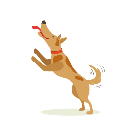 Brown Pet Dog Jumping Licking Face, Animal Emotion Cartoon Illustration. Cute Realistic Active Hound Vector Character Everyday Life Scene Emoji. Illustration