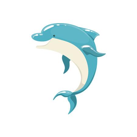 bottlenose: Blue Bottlenose Dolphin Jumping For Entertainment Show, Realistic Aquatic Mammal Vector Drawing. Friendly Cute Marine Animal In Aquarium Zoo Cartoon Illustration.