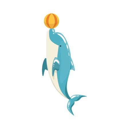Blue Bottlenose Dolphin Balancing A Ball For Entertainment Show, Realistic Aquatic Mammal Vector Drawing. Friendly Cute Marine Animal In Aquarium Zoo Cartoon Illustration. Illustration