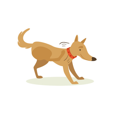 Brown Pet Dog Scratching From Fleas, Animal Emotion Cartoon Illustration. Cute Realistic Active Hound Vector Character Everyday Life Scene Emoji.