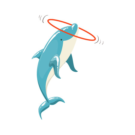 hula hoop: Blue Bottlenose Dolphin Holding Hula-Hoop For Entertainment Show, Realistic Aquatic Mammal Vector Drawing. Friendly Cute Marine Animal In Aquarium Zoo Cartoon Illustration.