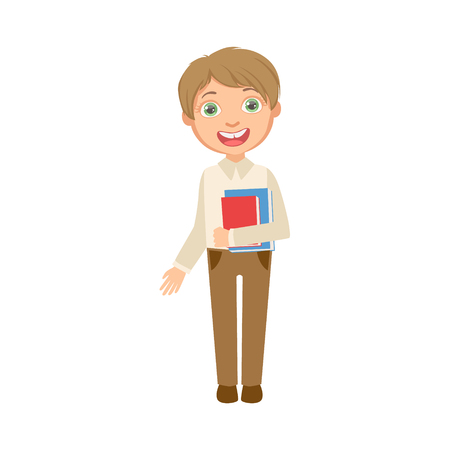 schoolkid: Boy In Brown Trousers And White Vest Holding Books Happy Schoolkid In School Uniform Standing And Smiling Cartoon Character. Part Of Primary School Students In Dress Code Clothing Set Of Vector Illustrations. Illustration