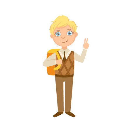 Boy In Brown Vest And Trousers With Backpack Happy Schoolkid In School Uniform Standing And Smiling Cartoon Character. Part Of Primary School Students In Dress Code Clothing Set Of Vector Illustrations. Illustration