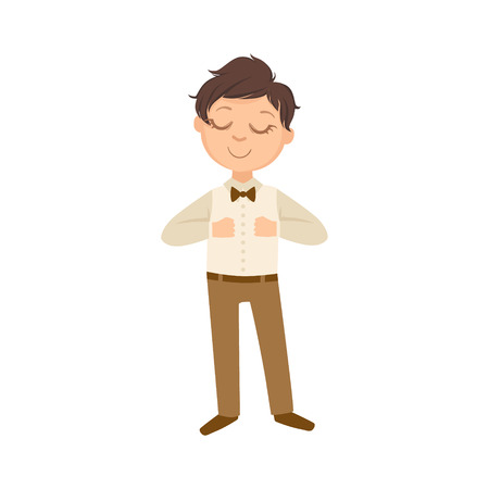 schoolkid: Boy In Brown Trousers And Bow Tie Happy Schoolkid In School Uniform Standing And Smiling Cartoon Character. Part Of Primary School Students In Dress Code Clothing Set Of Vector Illustrations.