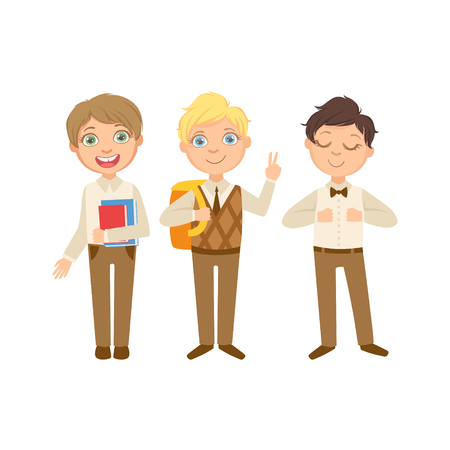 schoolkids: Boys In Brown Outfits Happy Schoolkids In Similar Collection School Uniforms Standing And Smiling Cartoon Character. Part Of Primary School Students In Dress Code Clothing Set Of Vector Illustrations. Illustration