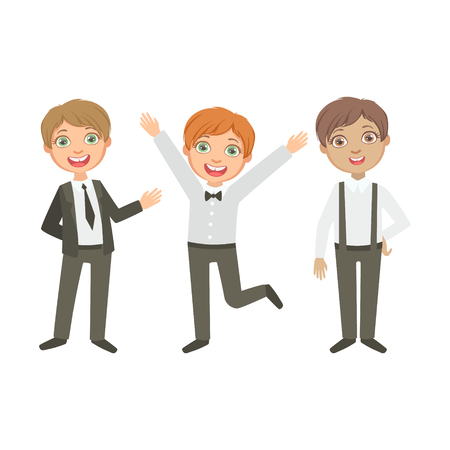 obligatory: Boys In Black And White Outfits Happy Schoolkids In Similar Collection School Uniforms Standing And Smiling Cartoon Character. Part Of Primary School Students In Dress Code Clothing Set Of Vector Illustrations.