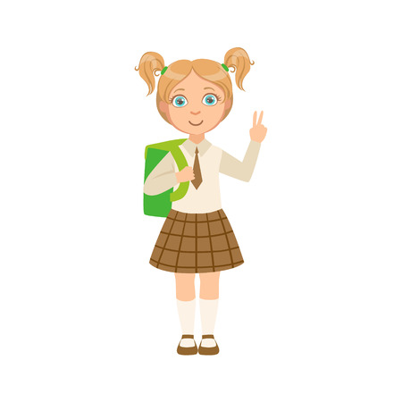 Girl In Chekered Skirt With Tie Happy Schoolkid In School Uniform Standing And Smiling Cartoon Character. Part Of Primary School Students In Dress Code Clothing Set Of Vector Illustrations. Illustration