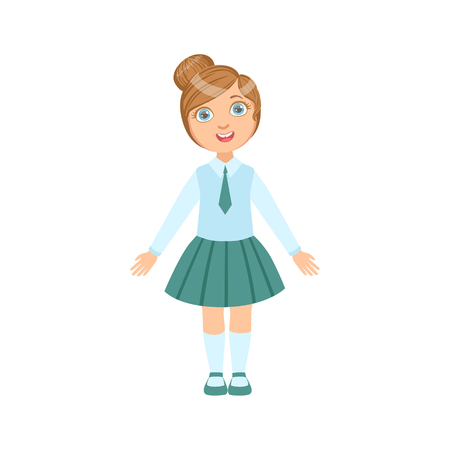 Girl In Blue Skirt And Tie Happy Schoolkid In School Uniform Standing And Smiling Cartoon Character. Part Of Primary School Students In Dress Code Clothing Set Of Vector Illustrations.